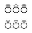 diamond engagement ring icons with crystals vector image