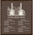 living beer menu vector image vector image
