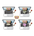 Laptop Casino game A collection of colored icons vector image
