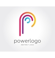 Abstract p character logo template for vector image