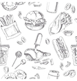 Fast Food Seamless pattern Sketches Vintage vector image