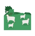 landscape with sheep and trees vector image