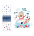 sailor bear and 3 seamless patterns vector image
