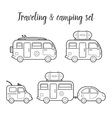 transport caravan isolated icon set vector image