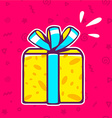 yellow gift box with blue ribbon on red p vector image