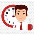 man clock cup coffee vector image