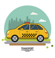 colorful poster of transport with taxi on vector image vector image