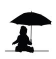 baby holding umbrella silhouette vector image