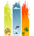 three summer banner with palm tree coconut dolphin vector image vector image