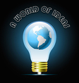 Globe in glowing blue light bulb Bulb light idea vector image