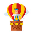 air balloon travel flat style colorful vector image