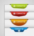Color label bookmark contact on the edge of web vector image