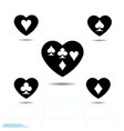 set kit heart icon a symbol of love valentine vector image