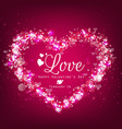 sparkle bright background with pink heart vector image