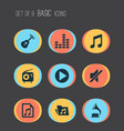 multimedia icons set collection of file vector image