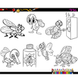 flies set cartoon coloring page vector image