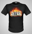 t shirts Black Fire Print man 06 vector image vector image