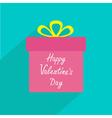 Gift box with ribbon and bow long shadow vector image