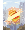 Grungy background with burger and ribbon vector image