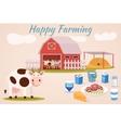 Happy farmin Cow farm Dairy cattle vector image
