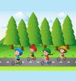 park scene with kids riding bike vector image