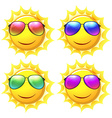 Sun wearing different colors of sunglasses vector image