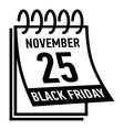 Calendar twenty fifth november black friday icon vector image