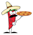 Sombrero Chile Pepper Holds Up Pizza vector image vector image