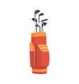 red and orange golf bag full of clubs golfer vector image