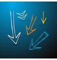Hand Drawn Arrows on Dark Blue Background vector image