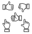 Set of pixelated hand icons vector image vector image