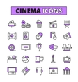 Cinema symbols outlined icons set vector image