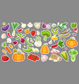 big set of colorful vegetables isolated stickers vector image