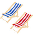 flat striped beach sunbed lounger chair wood vector image