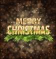 Merry Christmas Golden Text on Dark Background vector image