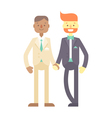 Wedding couple Cute flat characters grooms vector image