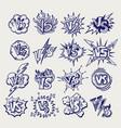 versus ballpoint pen sketch labels collection vector image