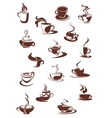 Set of hot coffee sketches vector image vector image