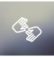 Two hands thin line icon vector image