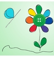 Button and needle provided in the form of a flower vector image
