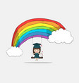 girl graduated pupils swinging on a rainbow vector image