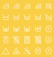 Laundry line icons on yellow background vector image