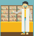 modern flat of a pharmacist at the counter in a vector image