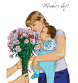 mother day and bouquet of flowers vector image