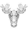 Ornamental head of elk layered vector image
