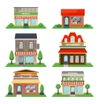 Restaurant and shop facade isolated set vector image
