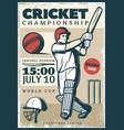 vintage cricket championship sport poster vector image