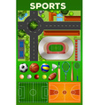 Different kind of sport equipments and courts vector image