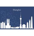 Shanghai city skyline on blue background vector image vector image