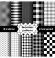 Checkered fabric seamless pattern black and white vector image